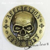 Retail & Groothandel Fashion Ronde Vintage bronskleur Schedel cowboy cowgirl gesp Geschikt 4 cm Brede Riem 7.5 cm 138g Metalen