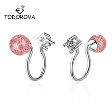 Todorova Fashion Wedding Party Gift Elegant Moonstone Strawberry Crystal Clip on Earrings Without Piercing no Ear Hole