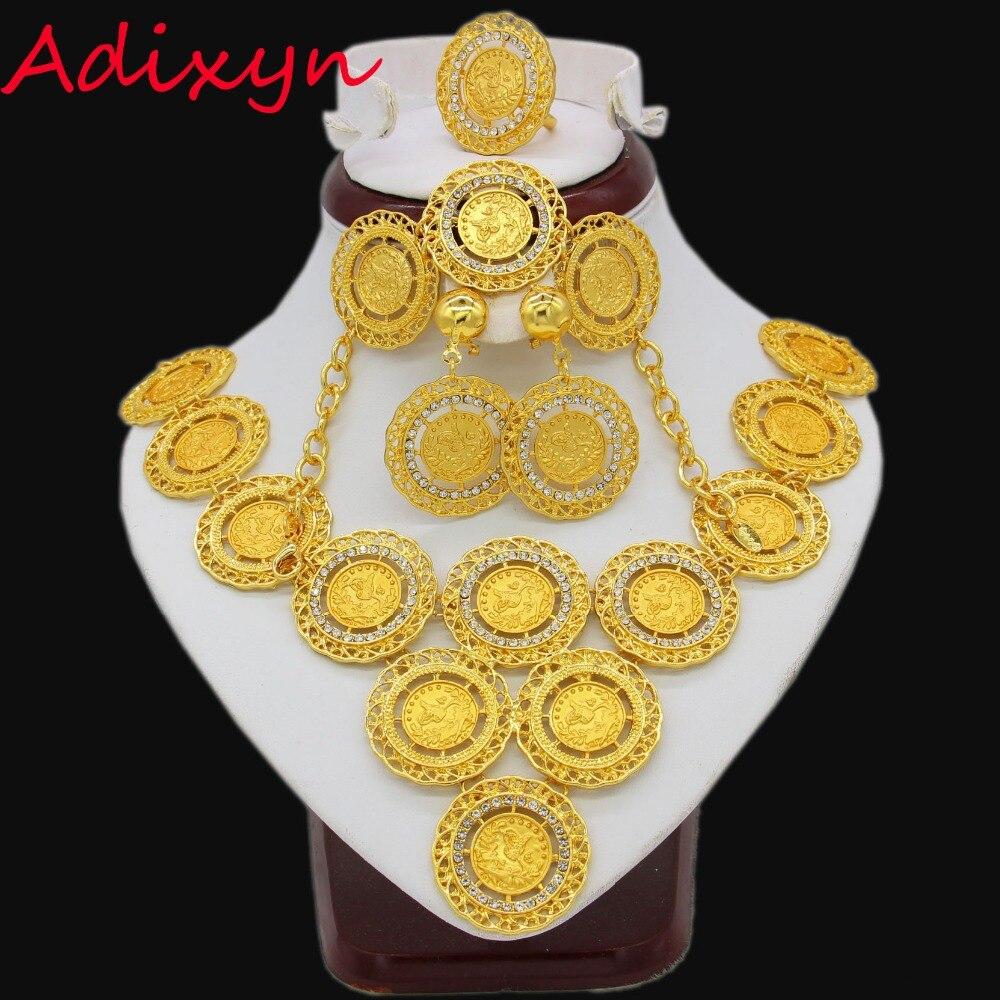 Adixyn Turquie Coin Collier/Boucle D'oreille/Anneau/Bracelet Parures Pour Femmes Or Couleur Pièces Arabe/Africain nuptiale De Mariage Cadeaux