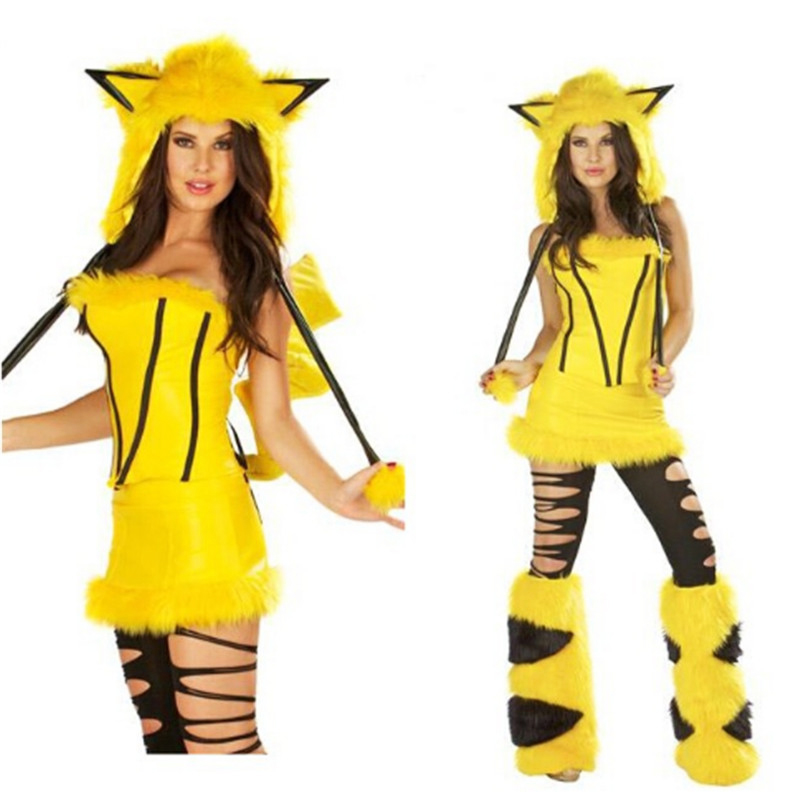 New High Quality Sexy Adult Plush Yellow Animal Halloween -2840