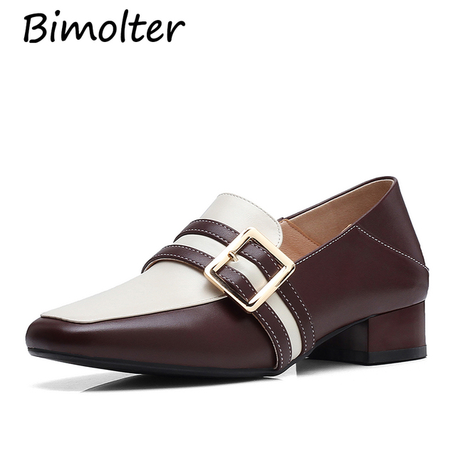 Bimolter Genuine leather oxford shoes woman flats vintage handmade laces loafers casual Cowhide flat Retro shoes for women NA031