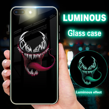 Marvel Super hero Batman Venom Luminous Phone Case For iPhone 6s 6 8 7 Plus Glass Coque XS MAX X XR Cover wholesale