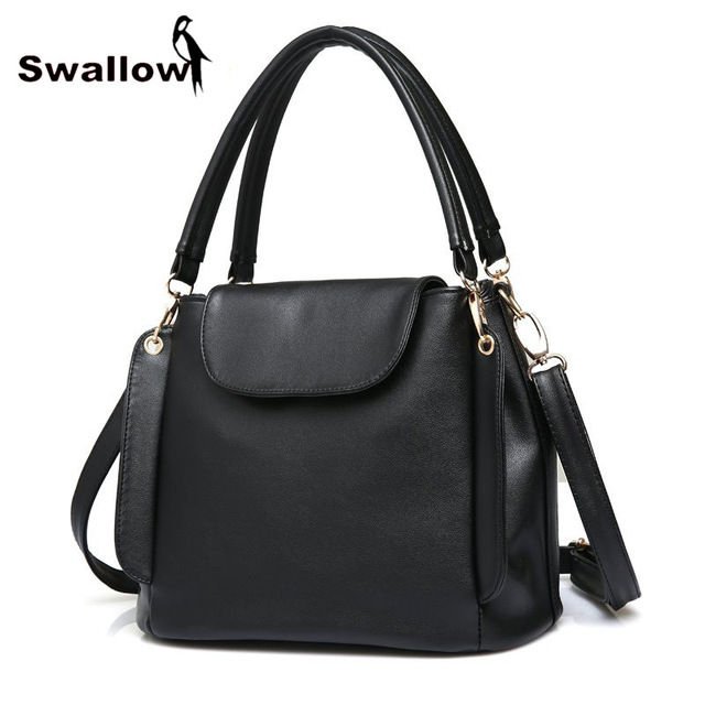 SWALLOW Magnetic Buckle Bucket Shoulder Bags Ladies Leather Luxury Handbags Women Bags Designer Triple Pocket