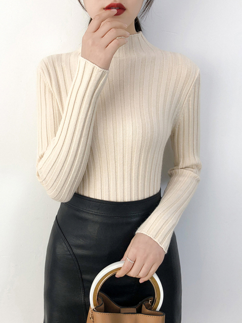Sueter Mujer invierno 2019 Autumn Winter Women Sweaters Solid Slim Sexy  Knitwear Pullover Sweaters Maglioni Donna Swetry Damskie