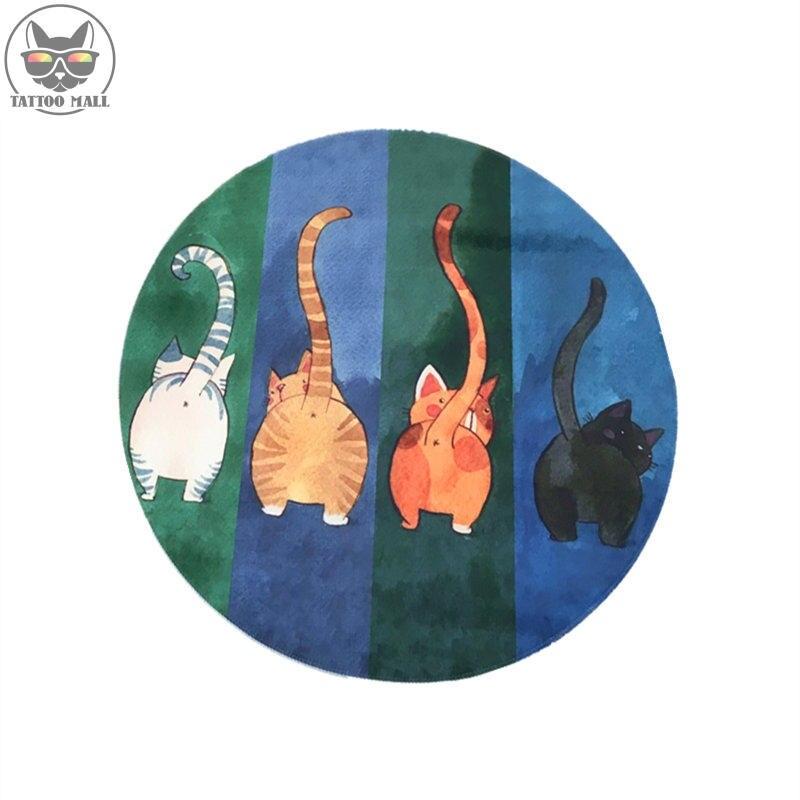 Tapis de sol chat rond tapis de jeu de maternelle de bande dessinée tapis pivotant d'ordinateur tapis de tente pour enfants tapis de flanelle antidérapant livraison gratuite