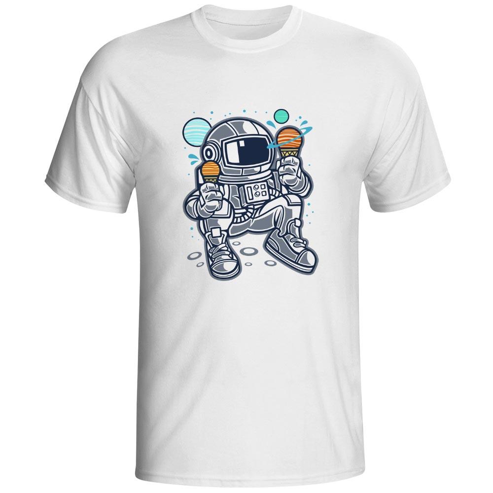 The Greediest Astronaut T-shirt Star Sun Icecream Brand Rock Anime T Shirt Punk Casual Style Women Men Top