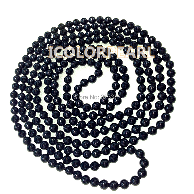 WEICOLOR Lowest Price For the 200cm Long 6mm Round Black Stone Opera Necklace.Many Different Wearing Styles!WEICOLOR Lowest Price For the 200cm Long 6mm Round Black Stone Opera Necklace.Many Different Wearing Styles!