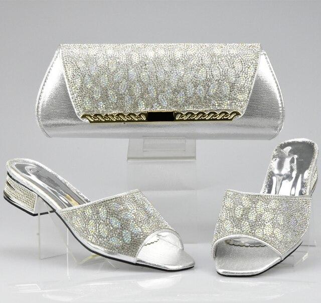 Neue Ankunft Splitter Farbe Italienische Damen Schuhe und Tasche Sets  Dekoriert mit Strass Afrikanische Frauen Italienische 8df94157bb