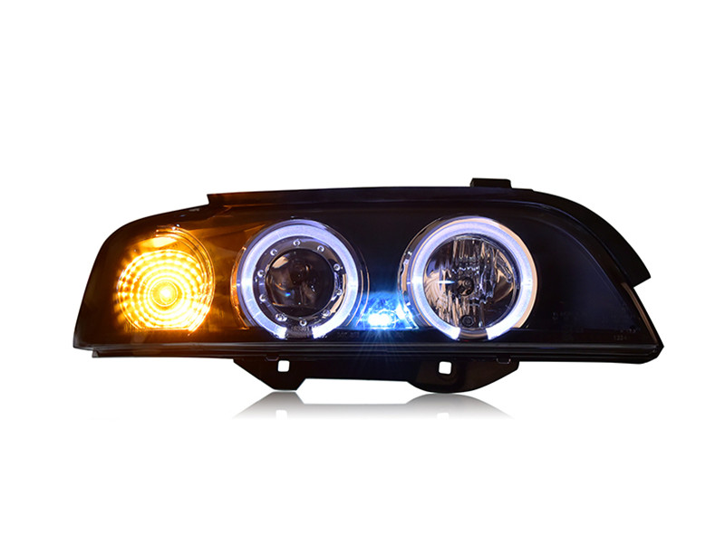 Vland Factory car head lamp for BMW 5 Series headlight E39 520 525 528 530 LED headlight with Angel Eyes H7 xenon lamp free shipping vland factory headlamp for volkswagen gol led headlight h7 xenon lamp with angel eyes led bar lamp plug and play