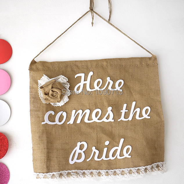 free shipping 1 x handmade here comes the bride banner rustic wedding burlap sign bridal shower
