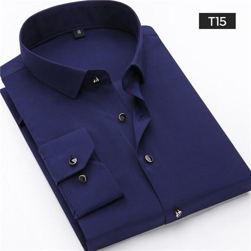 2019 Nuovi Uomini Di Modo Freddo Camicette Solido Manica Lunga Camisa Maschio Pieno Camicia Di Affari Slim Fit Mans Camicie Eleganti Casual Top