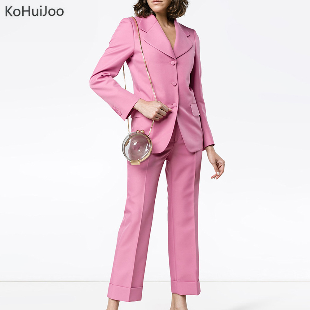 Unique Poitrine Kohuijoo Blazer Éclair Mode Bureau Pantalon Pièce Set 2 Entaillée Costumes Printemps Femmes Antumn Solide Et Ensembles Rose Fermeture ww8gzqr