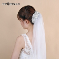 TOPQUEEN VS280 White veil with Rhinestone wedding veils long Bridal Wedding accessories cathedral bride's veil