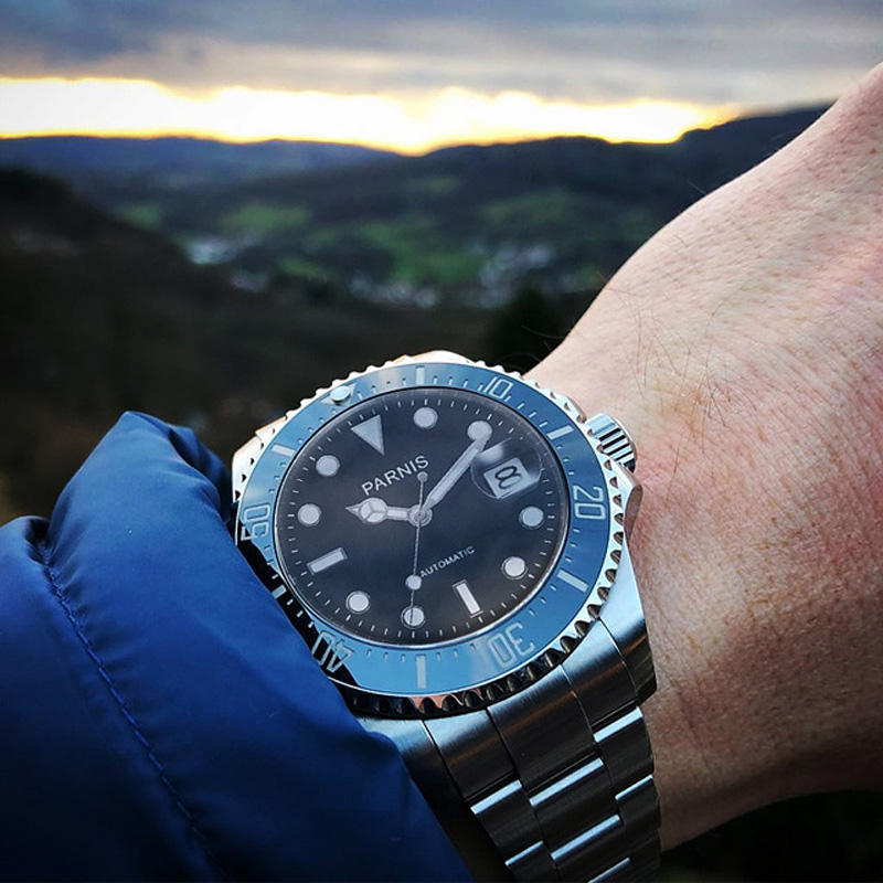 Parnis 40mm Mens Automatic Relógios Mecânicos Do Relógio de Cerâmica Mergulho 100 m Aço mekanik erkek kol saati reloj automatico