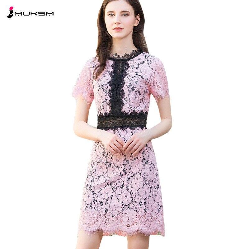 2018 européenne été dentelle robe femmes mode Stand cou à manches courtes taille haute robes de soirée doux mignon femme Sexy robe P168