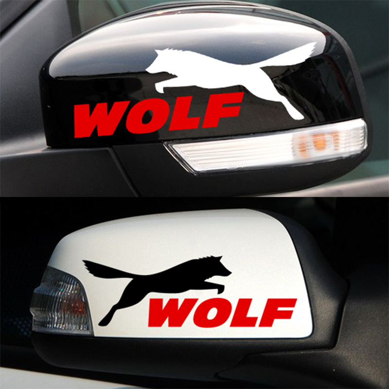 50 Pairs Customizable WOLF Vinyl Rearview Mirror Sticker Decal Car-Styling For Ford Focus Fiesta Mondeo Kuga Car Accessories