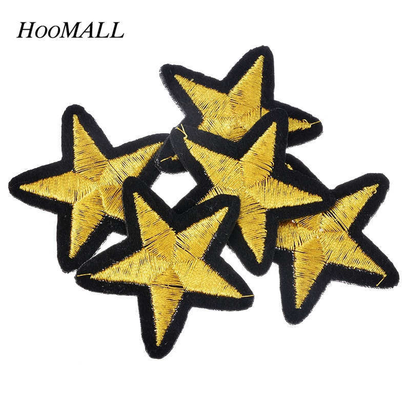 Hoomall Brand 20PCs Gold Star Embroidered Iron On Badges ...
