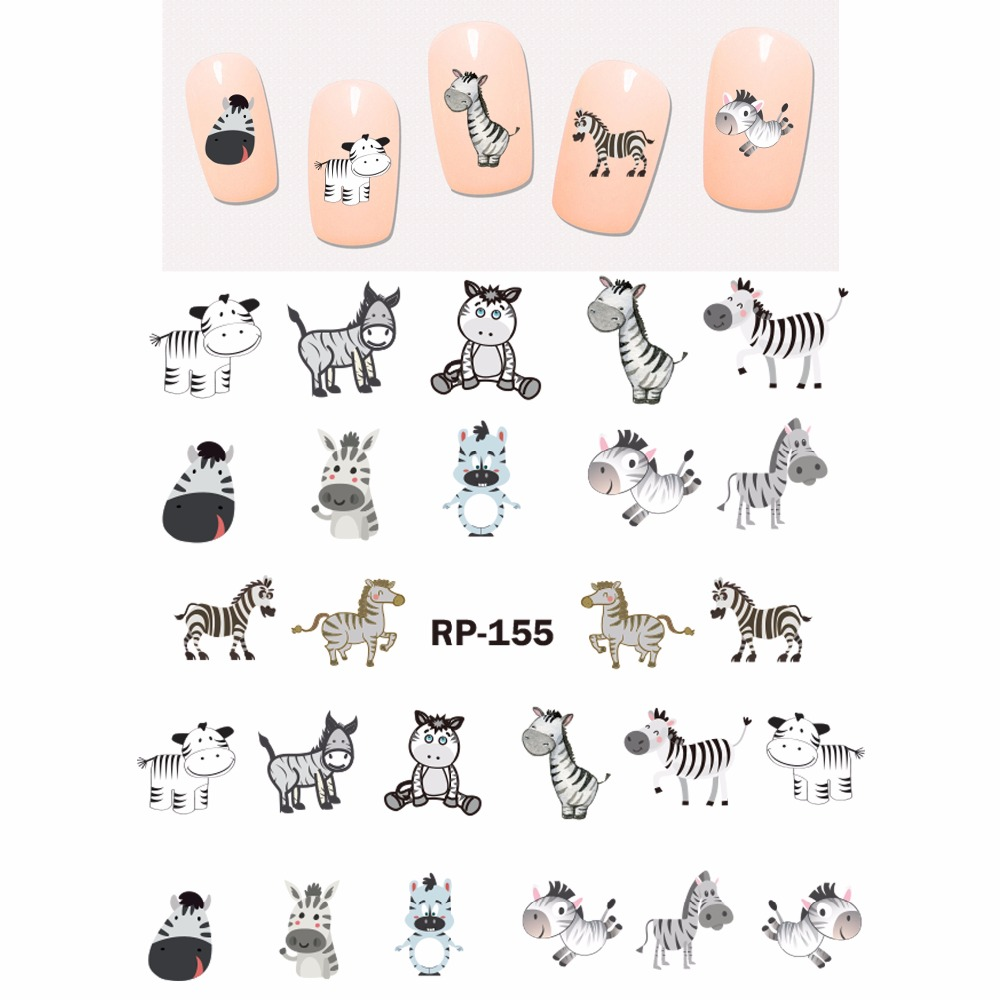 Image 5 - NAIL ART BEAUTY NAIL STICKER WATER DECAL SLIDER CARTOON ANIMAL KOALA DEER PANDA ZEBRA RED FOX RP151 156-in Stickers & Decals from Beauty & Health