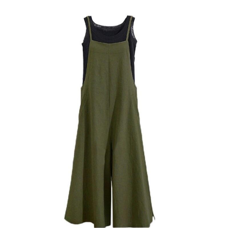 2018 Women Loose Cotton Linen Suspender Overalls Jumpsuit Bib Trousers   Wide     Leg     Pants   3Colors