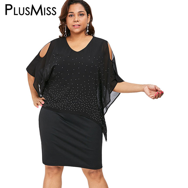 67f15c1ecb9 PlusMiss Plus Size Cold Shoulder Cape Dress Office Ladies 5XL Polka Dot  Chiffon Party Dresses XXXXL XXXL XXL Women Work Big Size