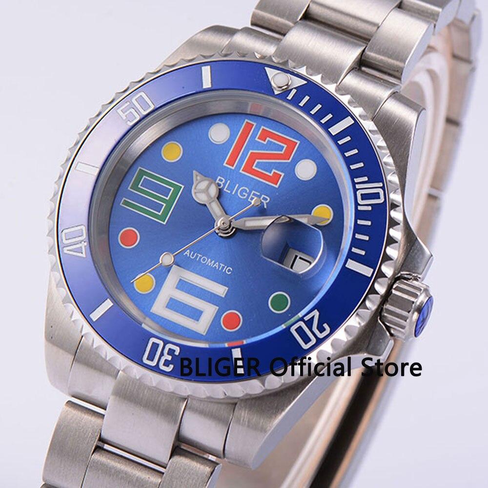 лучшая цена BLIGER Solid 40mm Blue Dial Blue Ceramic Bezel Stainless Steel Bracelet Sapphire Glass Miyota Automatic Movement Men's Watch B44