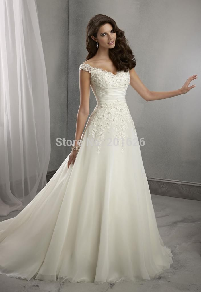 Simple and Decent Beach Wedding Dress Romantic Appliques country ...