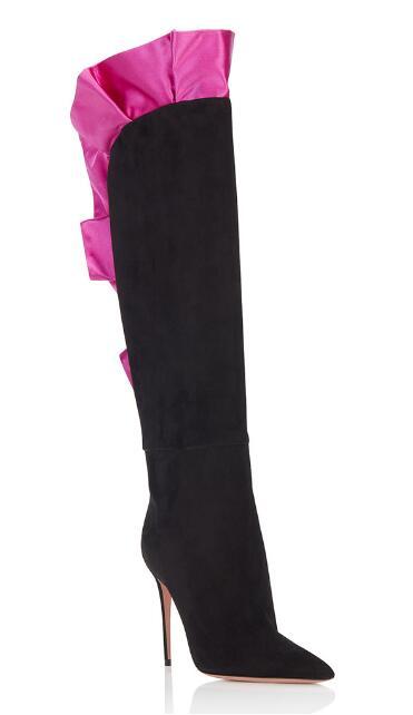 2018 Новинка зимы женские подбора цвета замшевые ботинки с острым носком Высокий каблук Сапоги до колена красная роза reffle украшения стильные