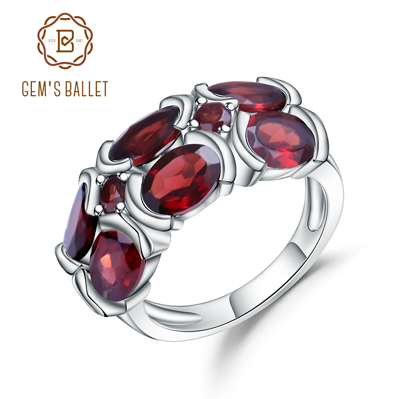 Gem's Ballet Unique Design 925 Sterling Silver Mona Lisa Ring for Women Wedding 6.13Ct Natural Garnet Gemstone Ring Bijouterie