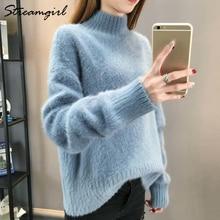 Fluffy Turtleneck Sweater Women Winter Imitation Mink Cashmere White Oversized Sweater Warm Sweaters Jumpers Ladies Jumper Women