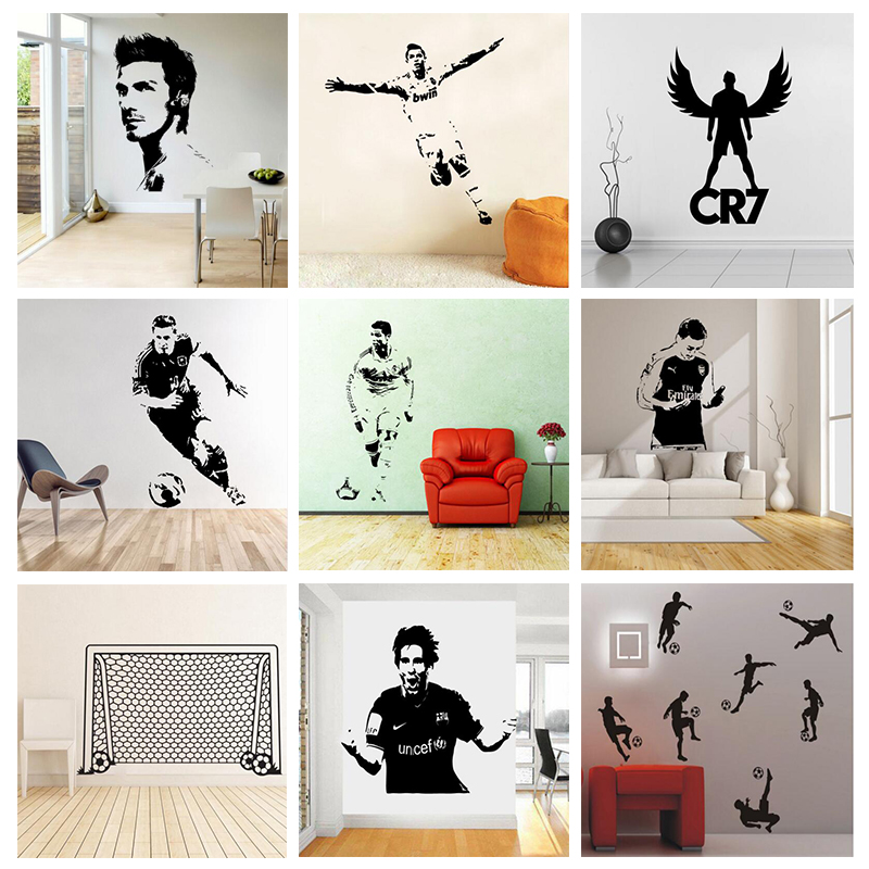 Soccer football and famous soccer players wall stickers for Wall decals kids room