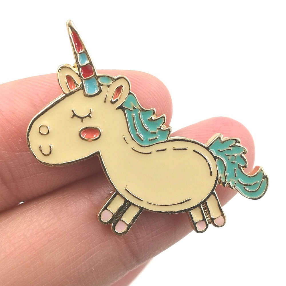 Timlee X223 Ny Cartoon Lovely Djur Unicorn Metal Brosch Pins Mode Smycken Partihandel