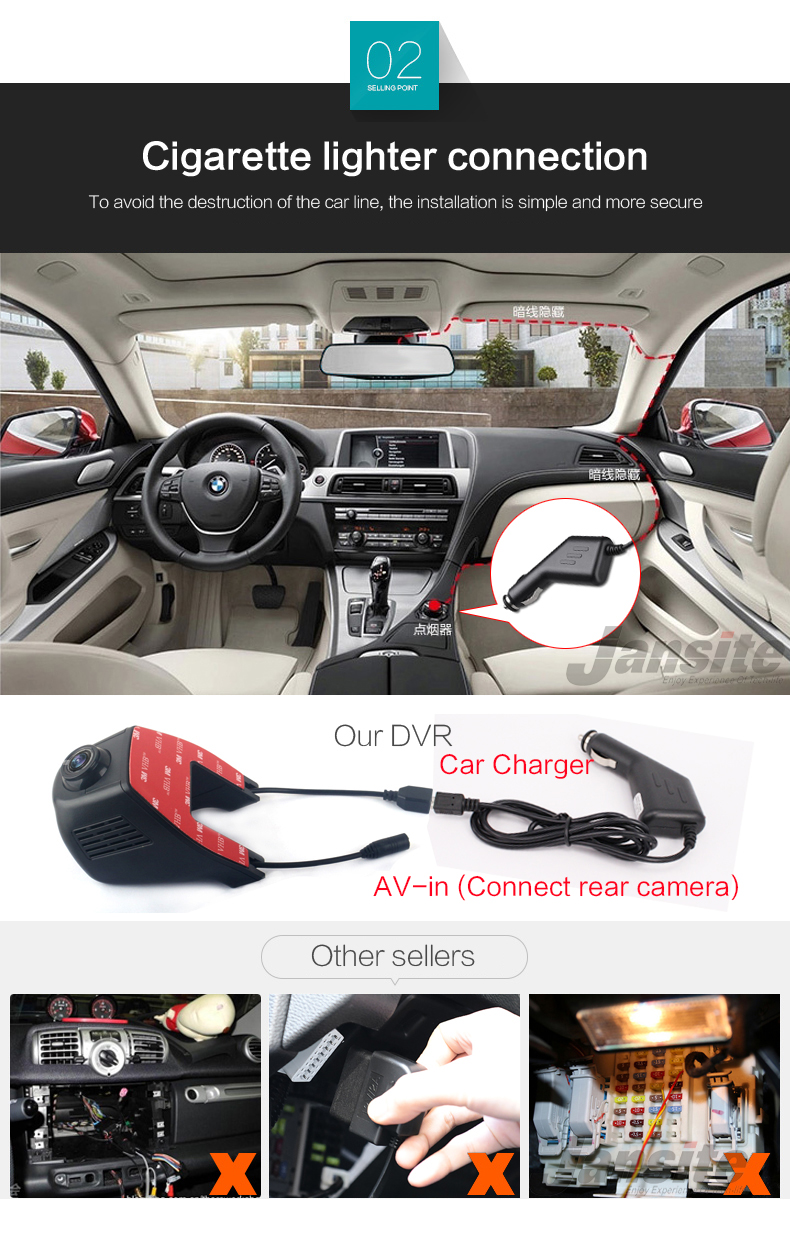 Jansite Car Dvr Wifi Car Camera Registrator Digital Video Mini Dash Cam Video Recorder Camcorder Full HD 1080P Dual Lens Dvr 5