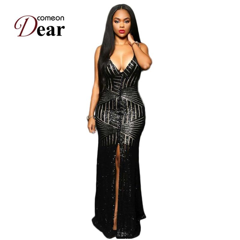 Buy Cheap VB1033 Special Design Slit Front Sequin Dress For Party Backless V-neck Dress Party Evening Elegant Black Gold Maxi Dresses Long