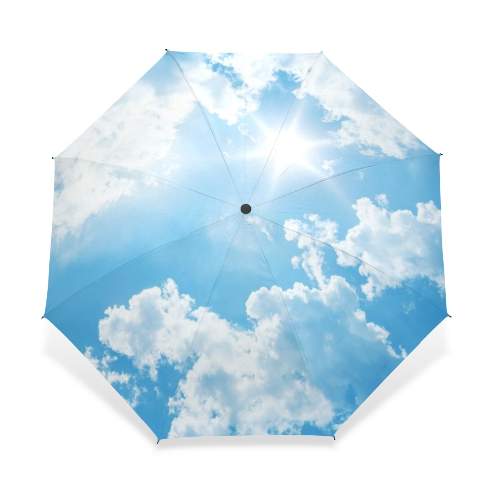 2018 Creative Luxury Fashion Three Folding Men Umbrella Sky Kazbrella Windproof Sun Rain Women Umbrella Accept Customized Design
