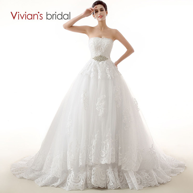 Vivian's Bridal White Ball Gown Lace Wedding Dresses Luxury Applique Sash Crystal Beads  Bridal Gowns