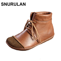 SNURULAN 2017 New Women Shoes Genuine Leather Vintage Boots Autumn Winter Style Handmade Sewing 2501