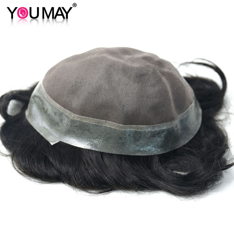 Men Toupee Human Hair Hairpieces Replacement System For Men Mono & PU Base Wigs 8X10 Color #1B Natutral Looking You May Remy
