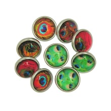 30Pcs Wholesale Mixed Multicolor Peafowl Feather Patterns Round Click Snap Press Buttons DIY Crafts Making 12mm