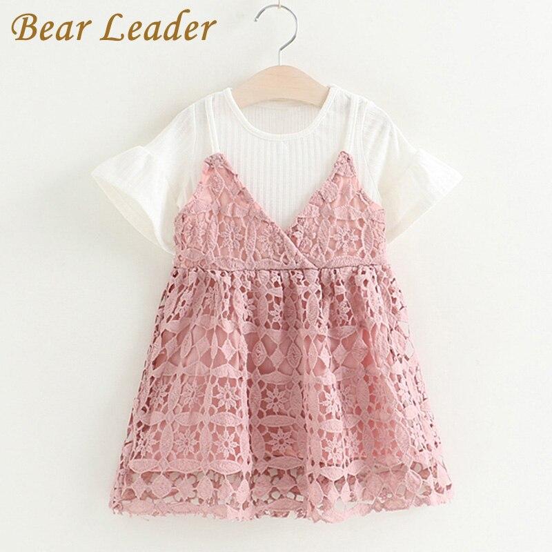 цена  Bear Leader Girls Sets 2017 New Children Clothing Cute Lace Sets Kids Clothes Pullover White Shirt+ Strap Dress 2Pcs Suits 2-6T  онлайн в 2017 году
