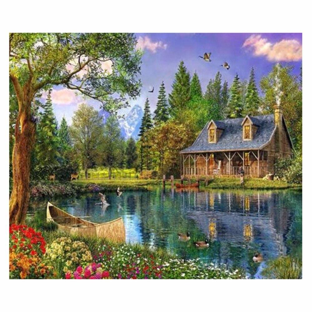 pintura diamante d ronda pintura diamante del taladro lado del lago casa de madera room decor