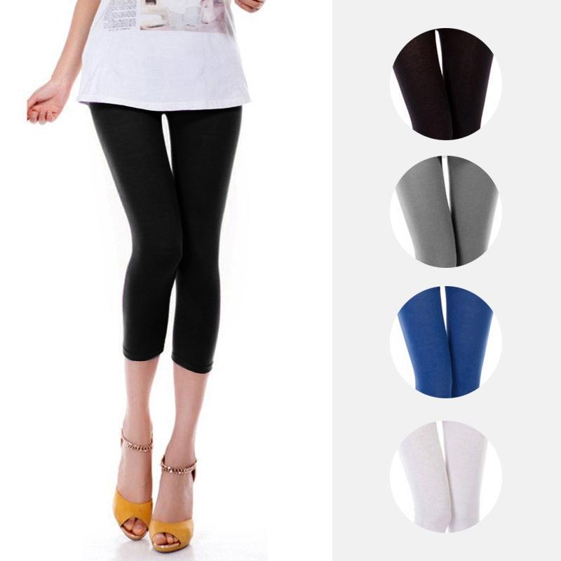 2019 Summer Style Candy Color Women Cropped Leggins 3/4 Length Lady Leggins High Elastic Pants HOT