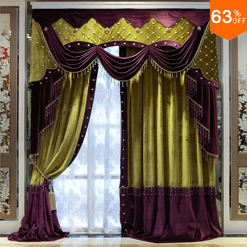 White beads Purple with yellow patchwork curtains for hotel Hall Curtain Classic elegant Living Room Curtains Nice new Bedroom
