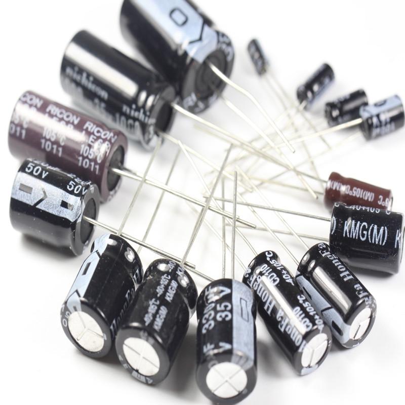 Set Of 120pcs 12 Values 0 22UF 470UF Aluminum Electrolytic Capacitor Assortment Kit Set Pack Free