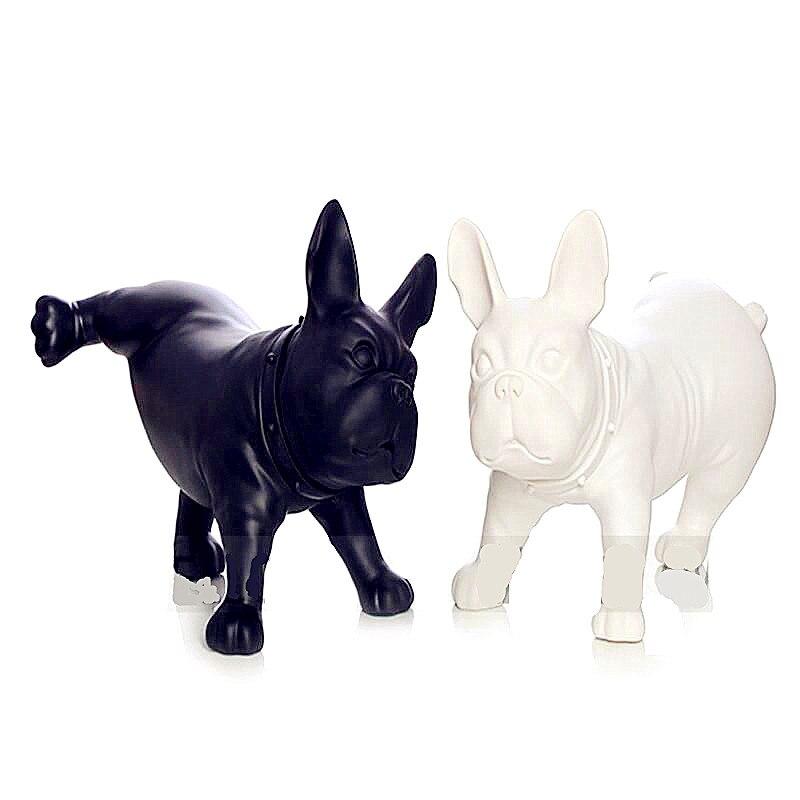 Bulldog Statue Simulation Pet Dog Animal Resin Craftwork Show Window Office Hotel Living Room Decoration L2761