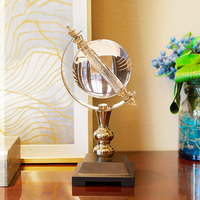 High Grade Statue Crystal Globe Figurines Home Decor Crafts Room Decor Wedding Handicraft Ornament Metal