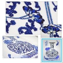 Diamentowe hafty wazon niebieskie i białe porcelanowe diamenty o specjalnym kształcie diamentowe malowanie robótki ręczne Rhinestone 5d wiertło DIY płacz