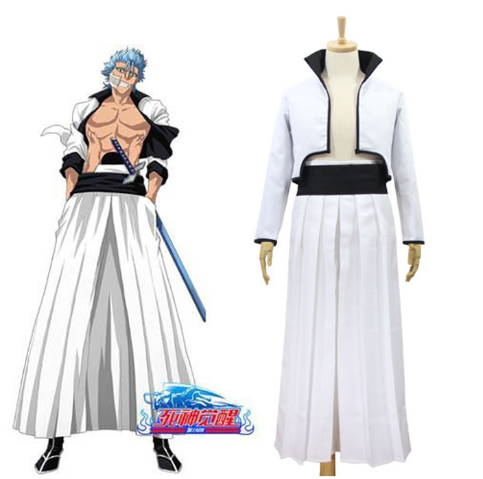 Anime Bleach Grimmjow Jaggerjack Cosplay Costume Jeagerjaques Full Set White Kendo Kimono Jacket Pants Belt