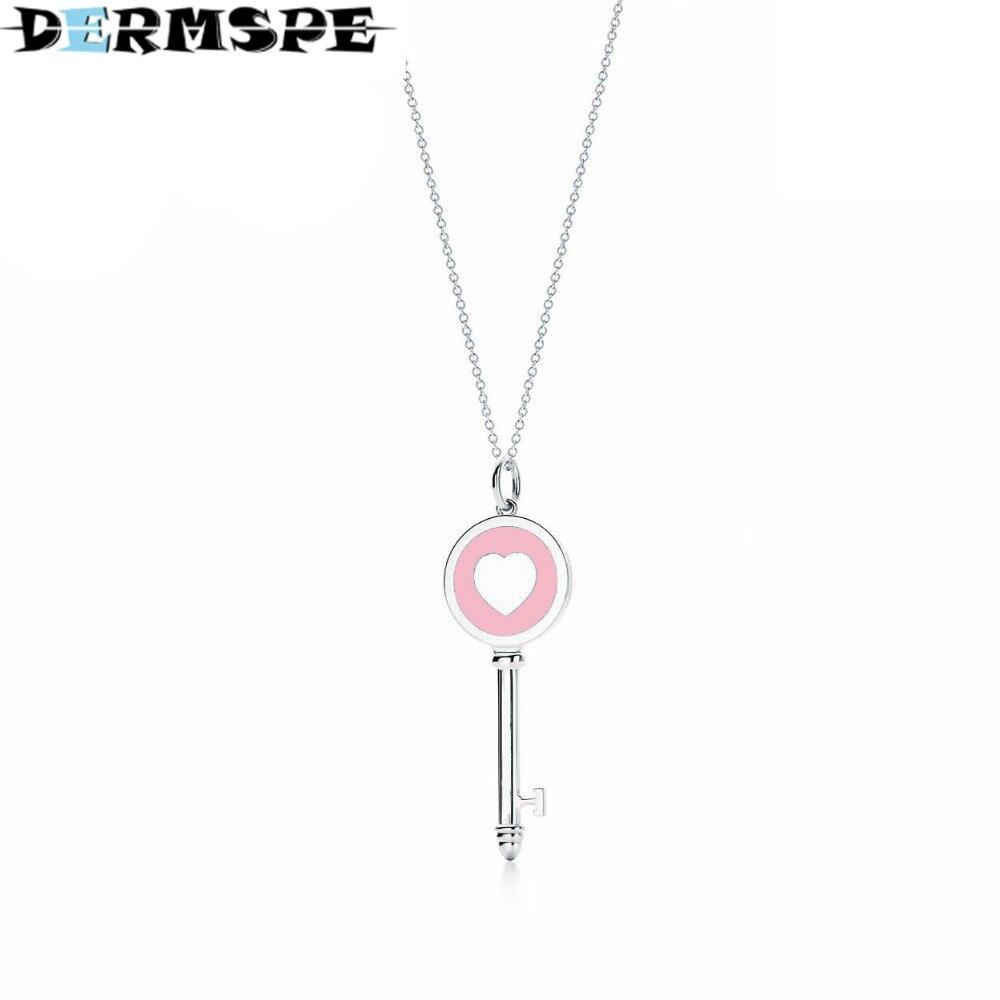 DERMSPE TIFF 925 Streling silver Trendy Heart Pendant Pink key Charm Bead Women Necklace Jewelry trendy solid color heart pendant necklace for women