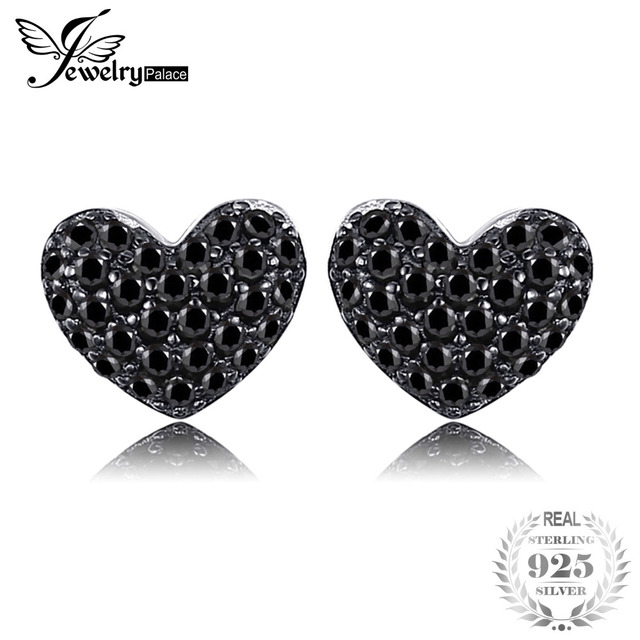 JewelryPalace Fashion Natural Black Spinel Love Heart Earrings For Women Solid 9
