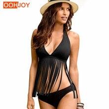 Купить с кэшбэком 2017 Sexy Bikini Women Swimwear Black Halter Swimsuit Tassel Fringe Bathing Suit Backless Bikini Set Girl Push Up Beach Wear XL